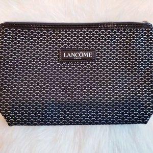 Lancome Black Silver Curve Zipper Cosmetic Bag